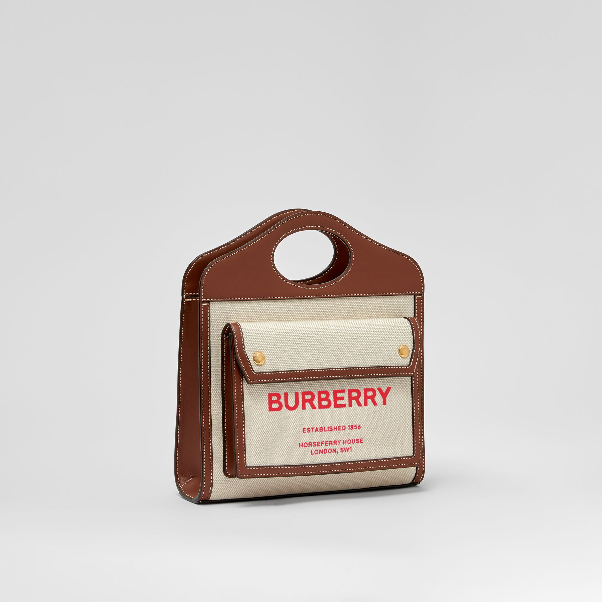 Mini Two-tone Canvas and Leather Pocket Bag in Natural/tan - Women | Burberry - gallery image 5