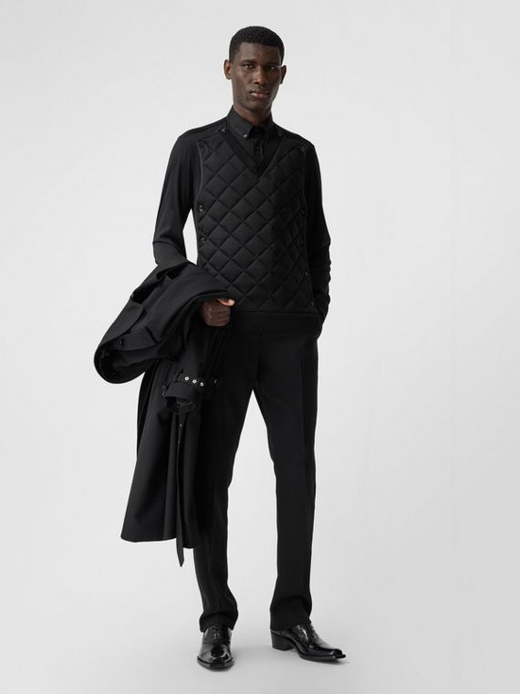 Classic Fit Detachable Quilted Panel Silk Jersey Shirt in Black