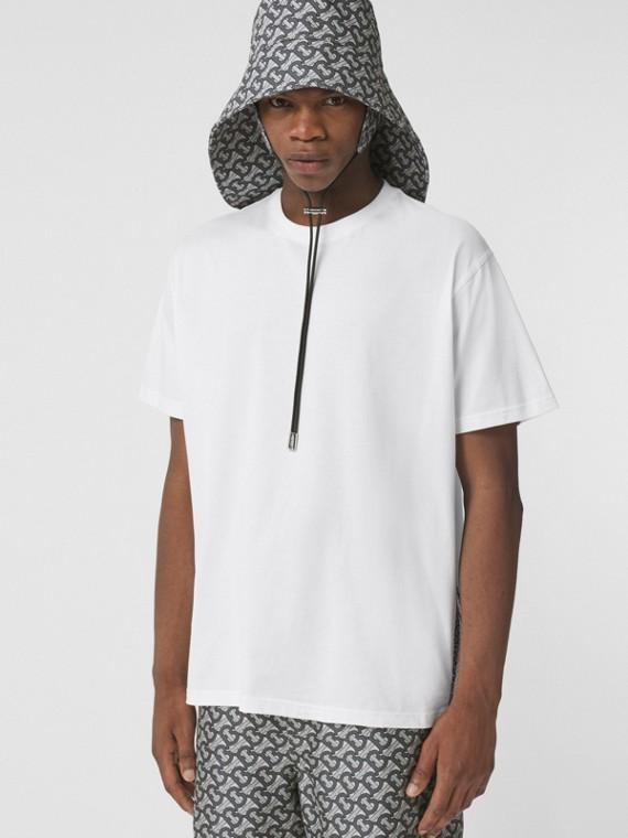 Oversize-T-Shirt mit Monogrammmuster im Streifendesign (Weiß)