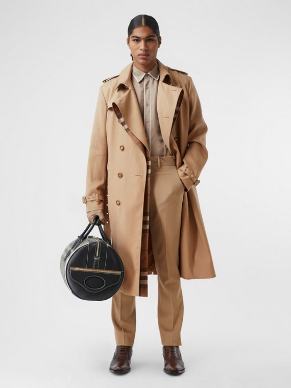 Wool Silk and House Check Loop-back Trench Coat in Biscuit