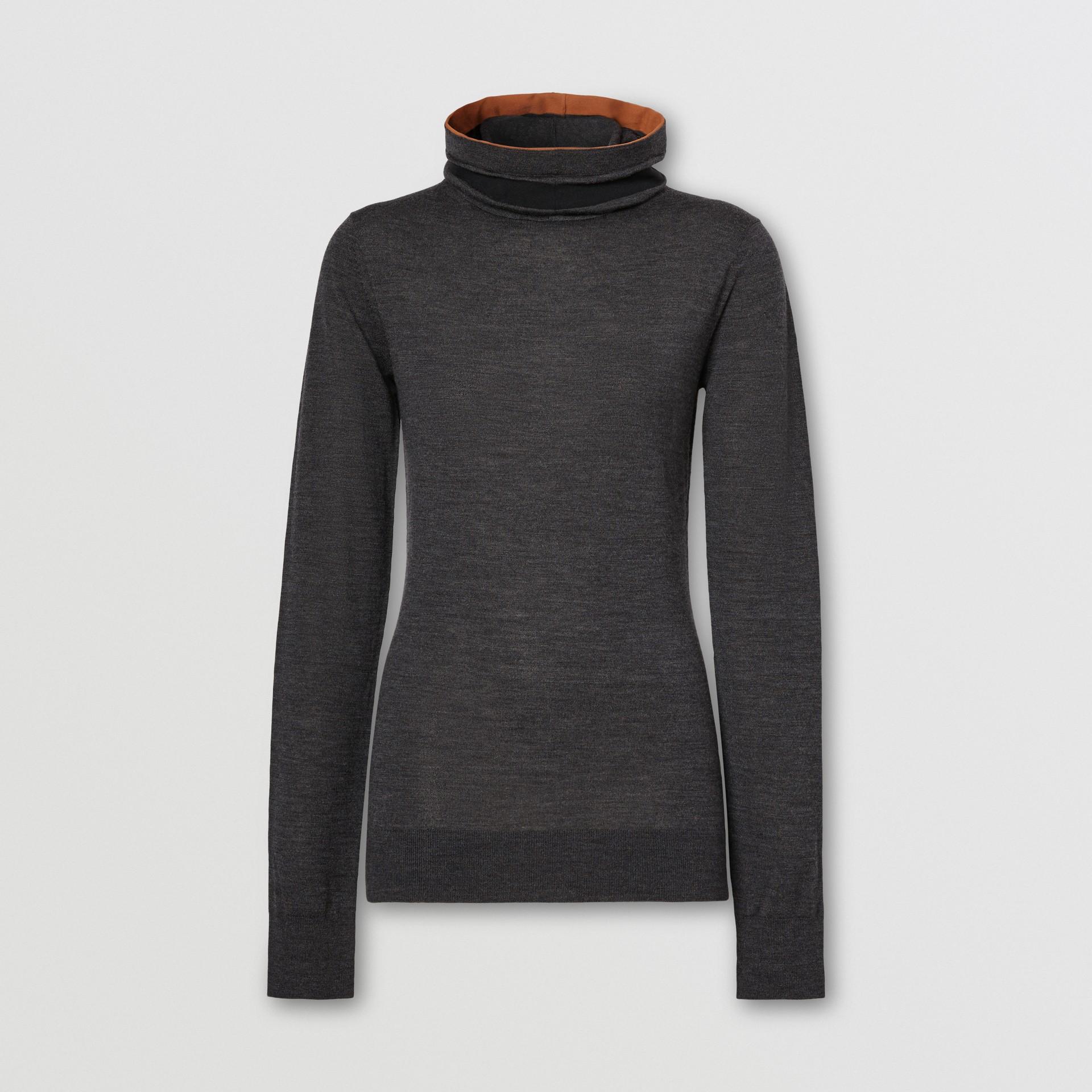 Stripe Detail Merino Wool Hooded Top in Dark Grey Melange - Women | Burberry - gallery image 3