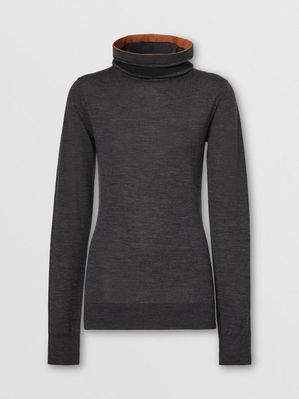 Stripe Detail Merino Wool Hooded Top in Dark Grey Melange - Women | Burberry - cell image 3