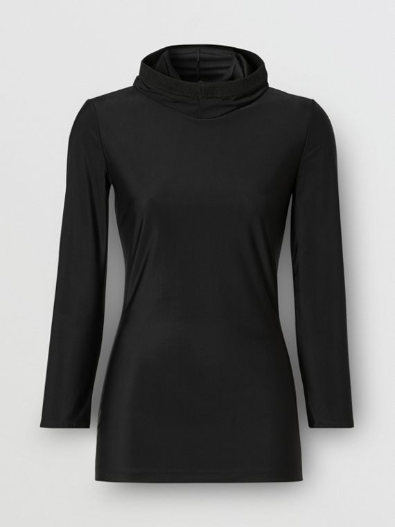 Stretch Jersey Hooded Top in Black