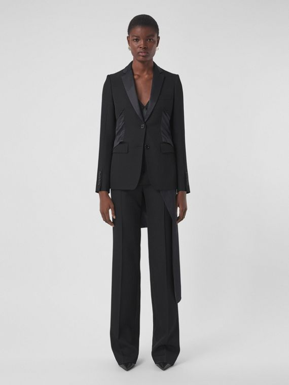 Silk Satin Sash Detail Wool Tuxedo Jacket in Black