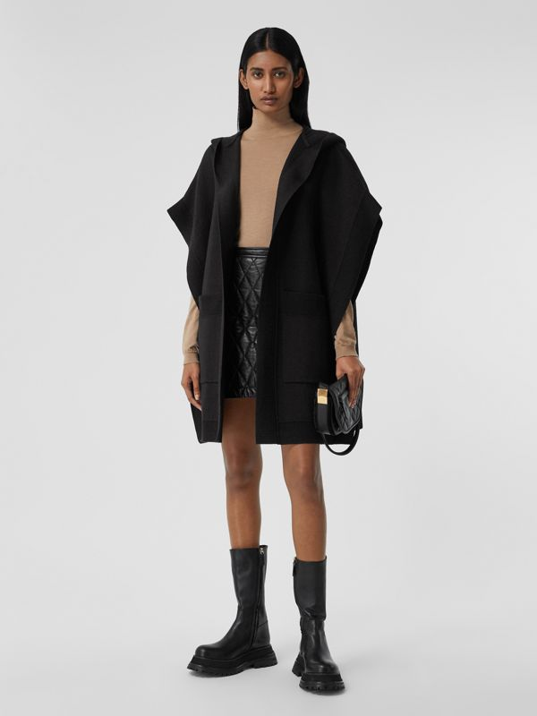 Love Wool Blend Jacquard Hooded Cape in Black - Women | Burberry Canada - cell image 2