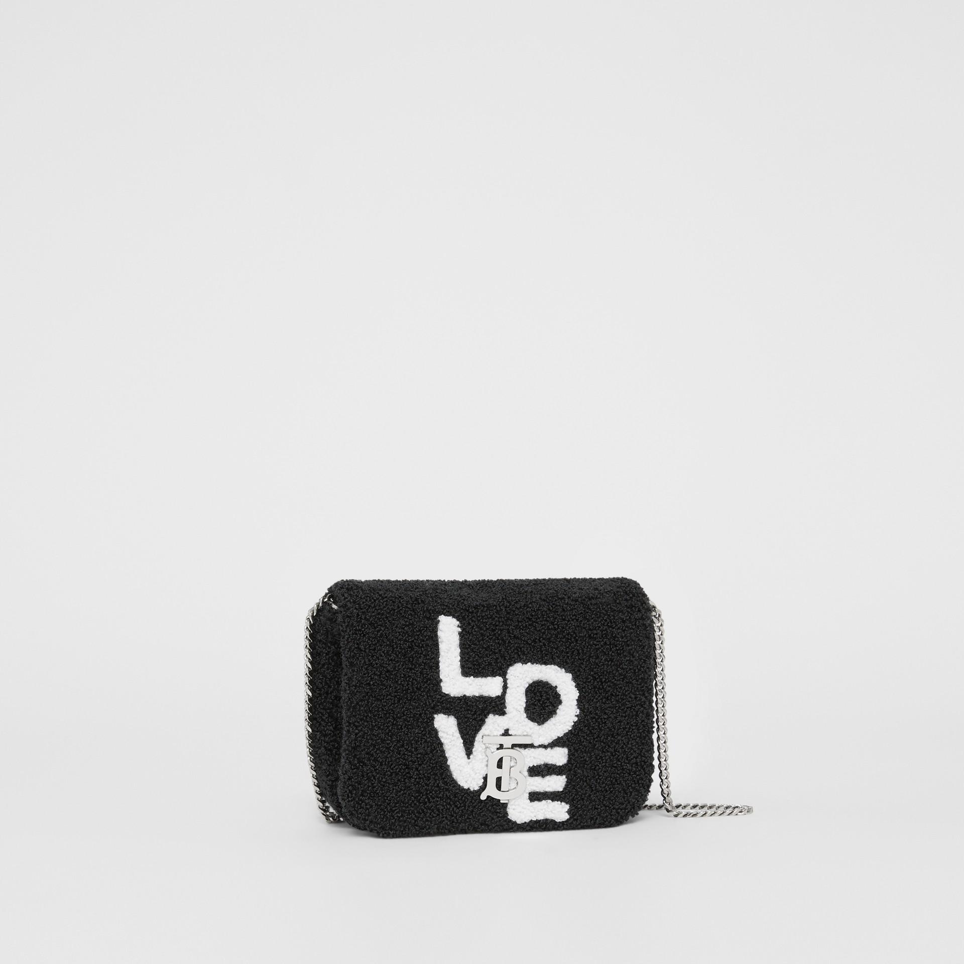 Micro Love Motif Towelling Lola Bag in Black - Women | Burberry - gallery image 7