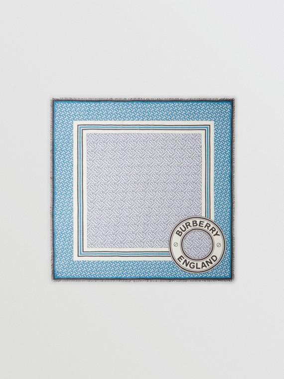Lenço grande de lã e seda com estampa de monograma (Azul Petróleo)