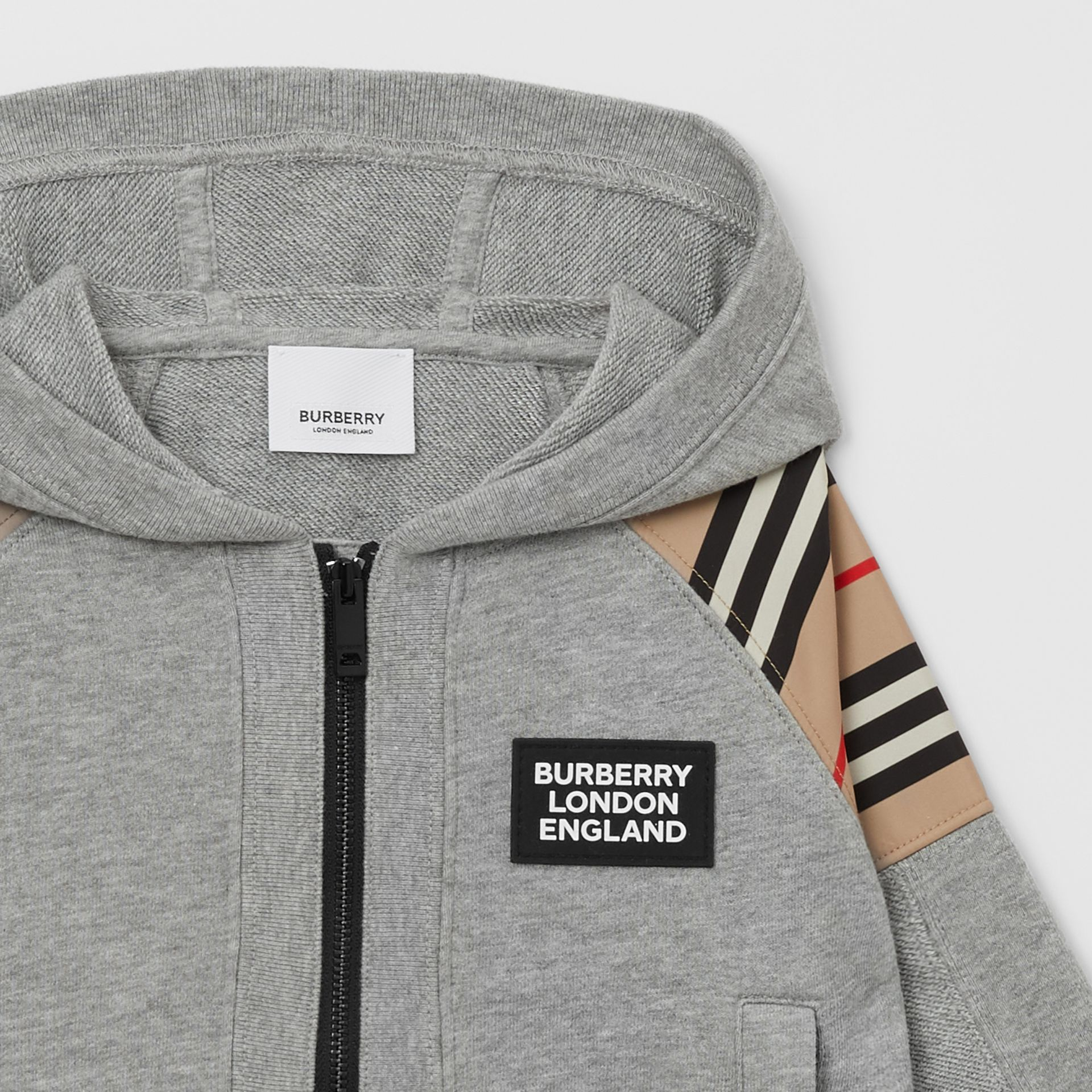 Icon Stripe Panel Cotton Hooded Top - Children | Burberry United Kingdom - gallery image 3