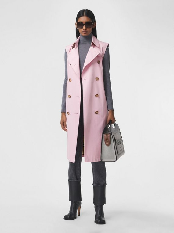 Sleeveless Cotton Gabardine Trench Coat in Light Pink