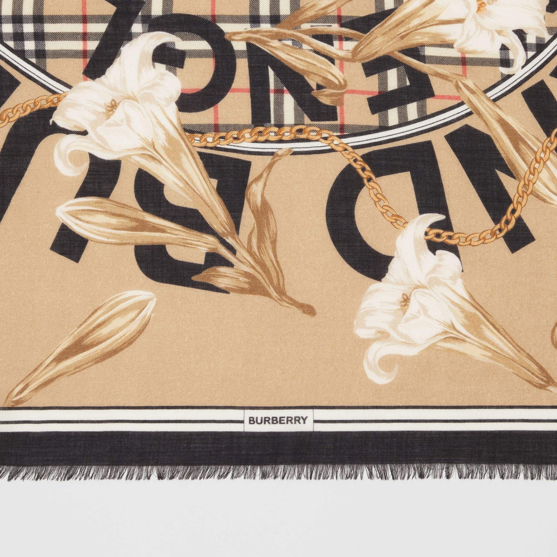 Archive Scarf Print Cashmere Large Square Scarf in Beige | Burberry - gallery image 1