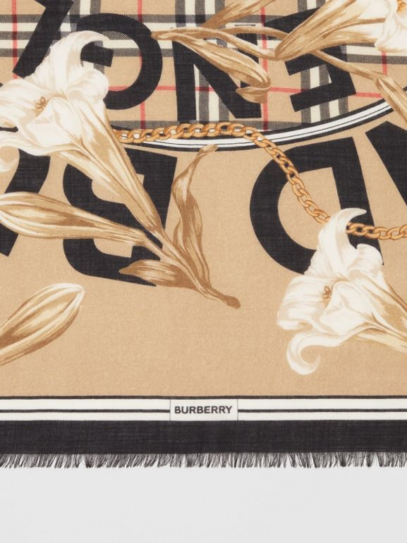 Archive Scarf Print Cashmere Large Square Scarf in Beige | Burberry - cell image 1