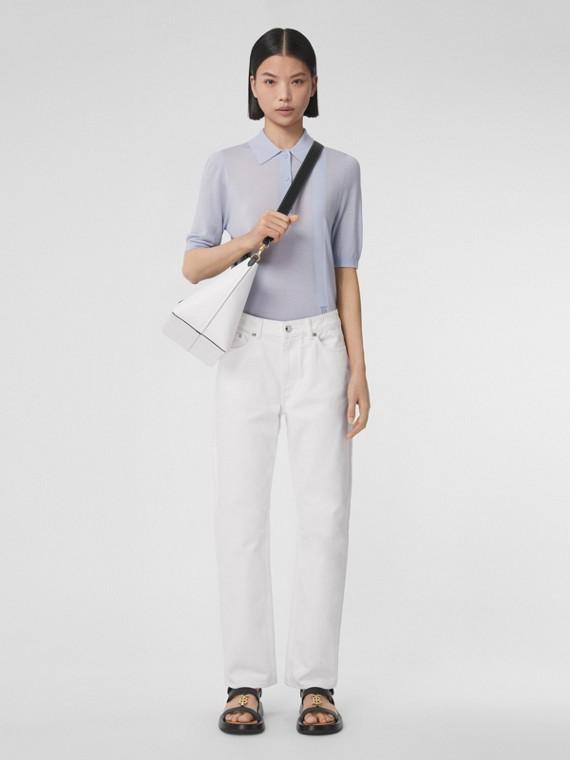 Monogram Motif Wool Silk Cashmere Polo Shirt in Pale Blue