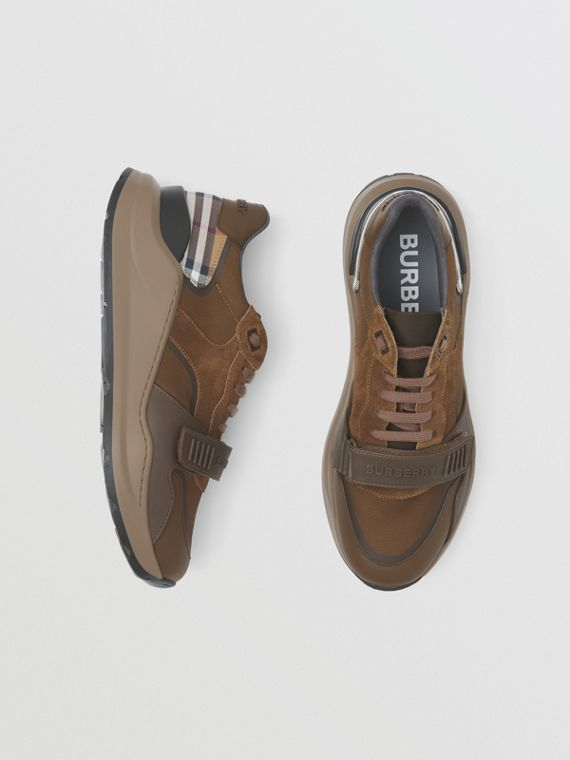 Leather, Suede and Check Sneakers in Dark Mocha