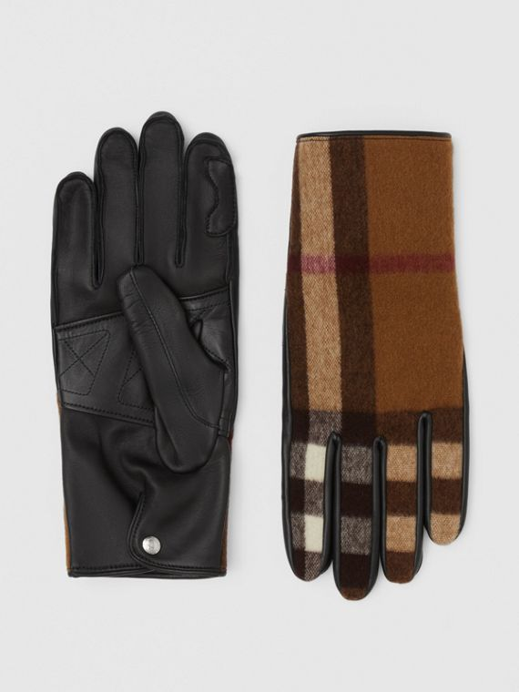 Cashmere-lined Check Wool and Lambskin Gloves in Birch Brown