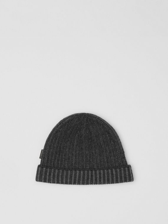 Rib Knit Cashmere Beanie in Grey Melange