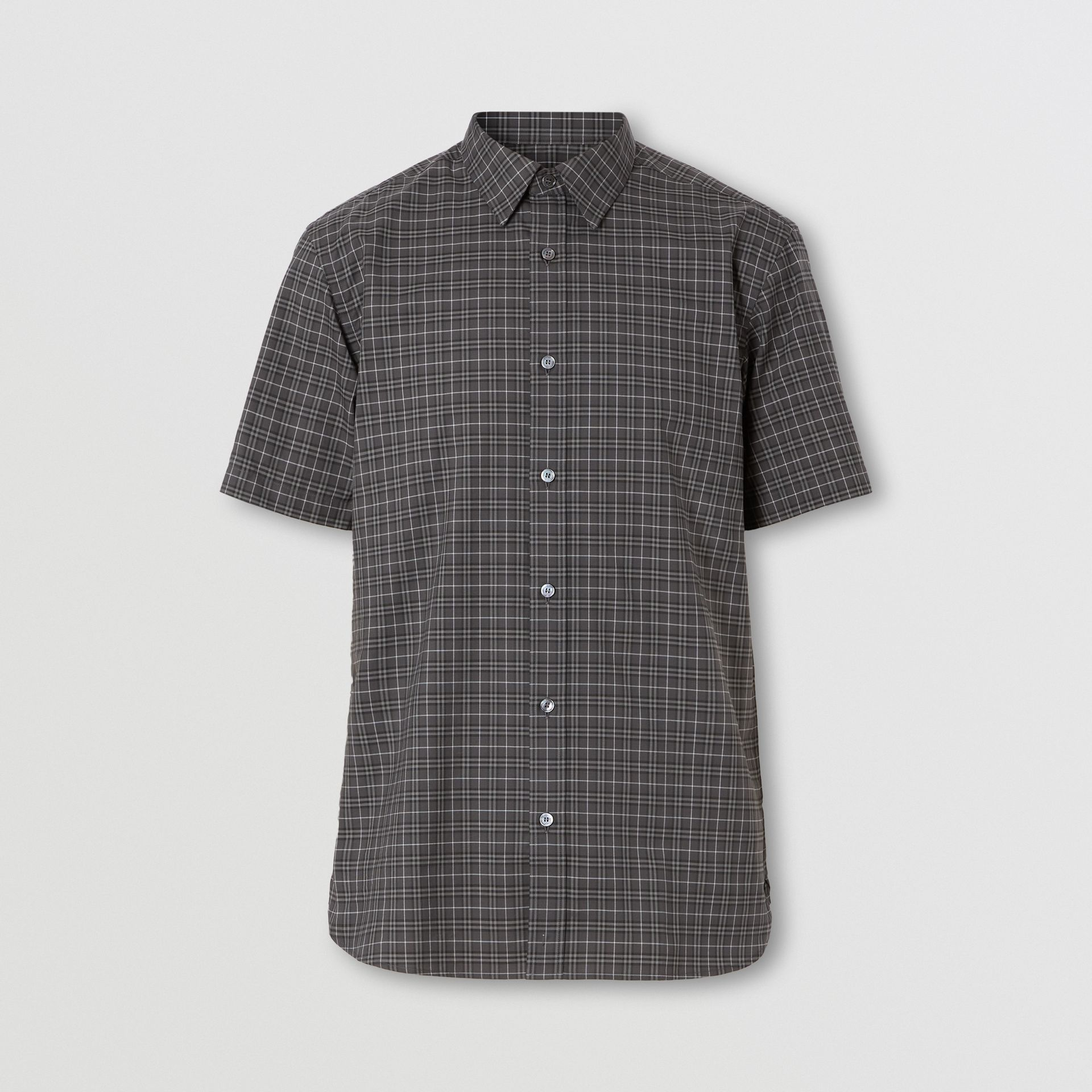Short-sleeve Check Cotton Shirt in Dark Grey - Men | Burberry - gallery image 0