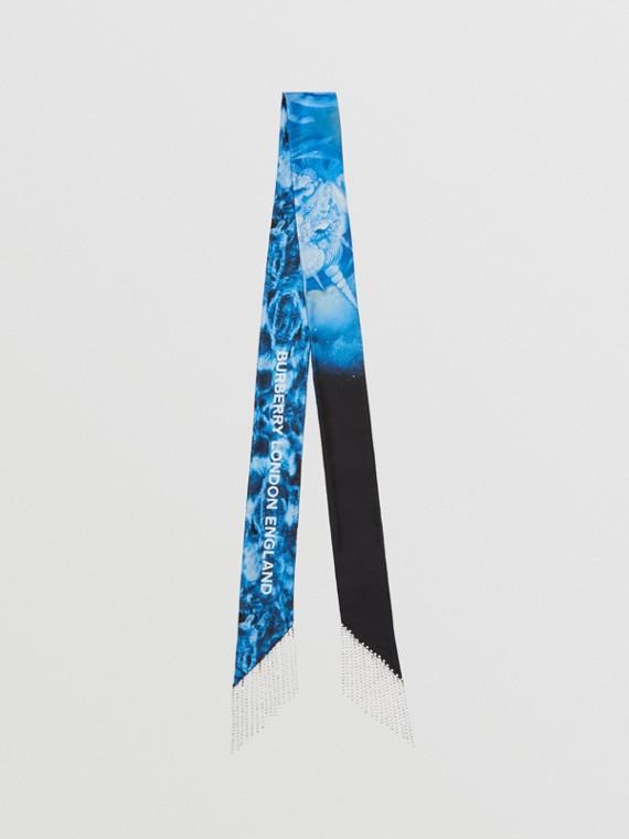 Foulard ultrafin en soie à imprimé montage avec cristaux (Cobalt Vif)