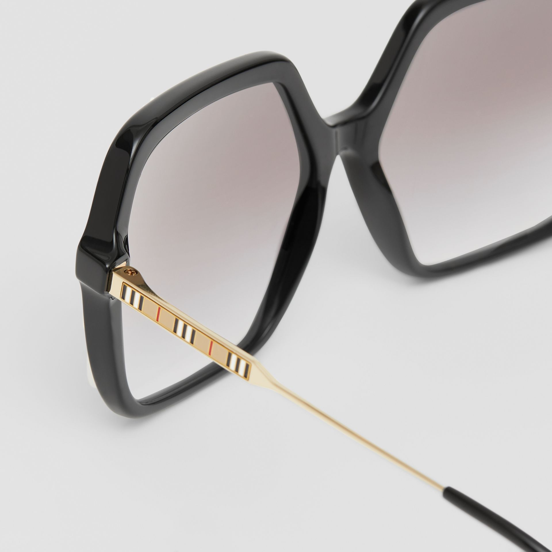 Oversized Square Frame Sunglasses in Black - Women | Burberry - gallery image 1