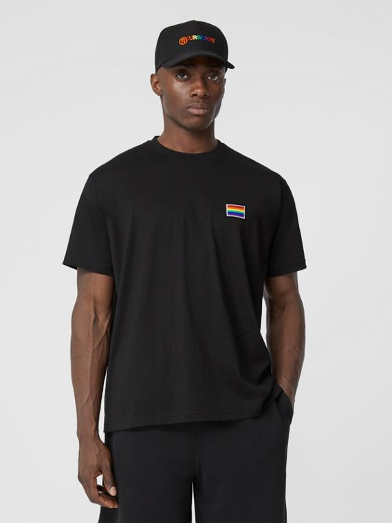 Rainbow Appliqué Cotton T-shirt – Unisex in Black