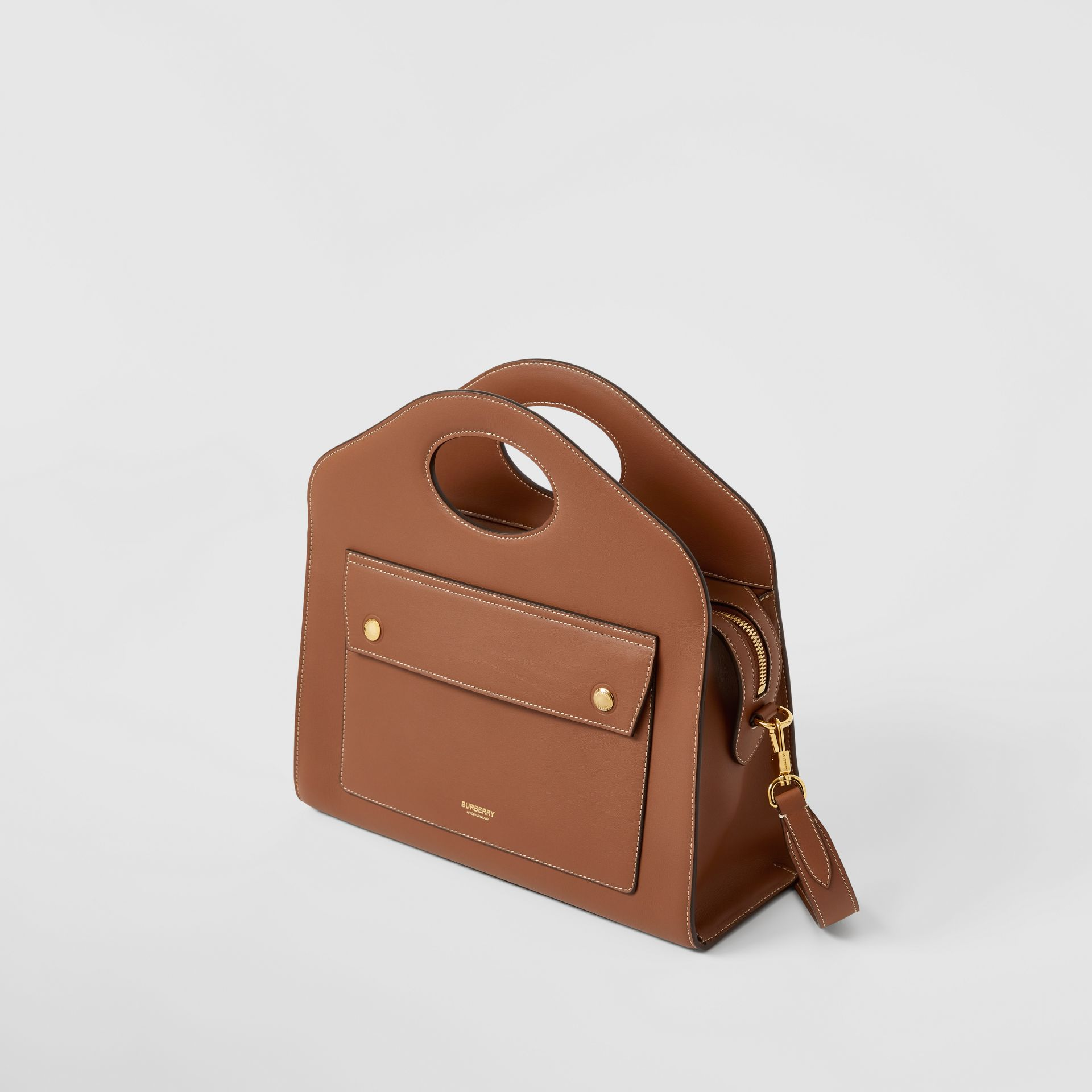Small Topstitched Leather Pocket Tote in Malt Brown - Women | Burberry - gallery image 3