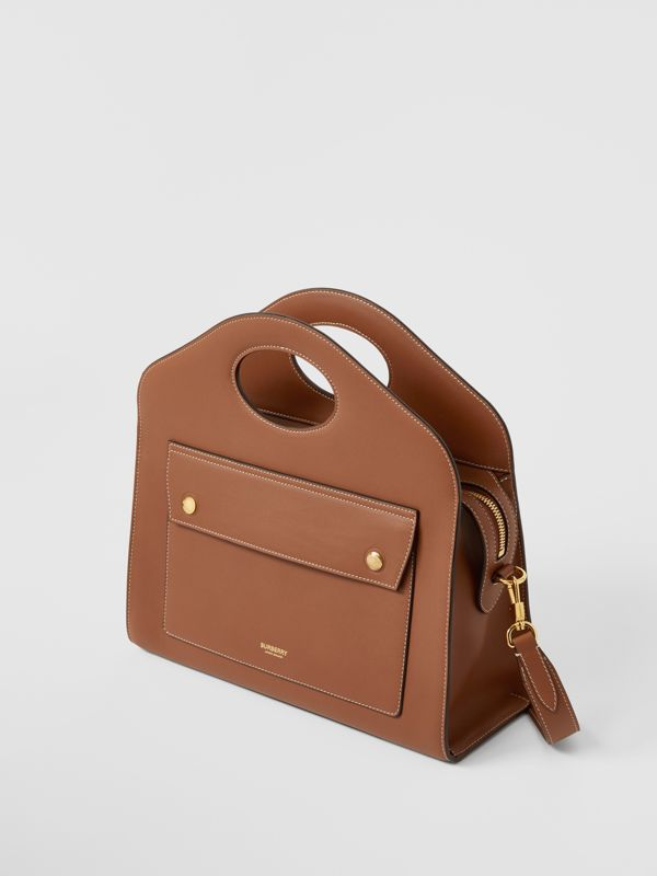 Small Topstitched Leather Pocket Tote in Malt Brown - Women | Burberry - cell image 3