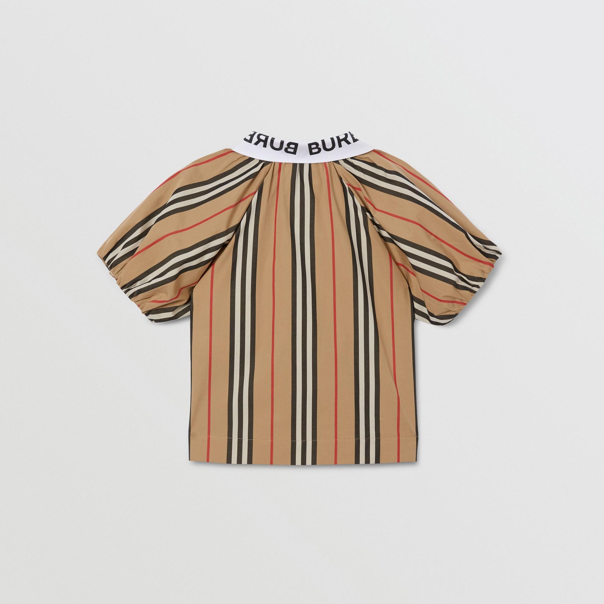 Logo Print Puff-sleeve Icon Stripe Cotton Blouse | Burberry United Kingdom - gallery image 1