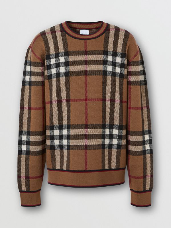 Check Merino Wool Jacquard Sweater in Birch Brown - Men | Burberry - cell image 3