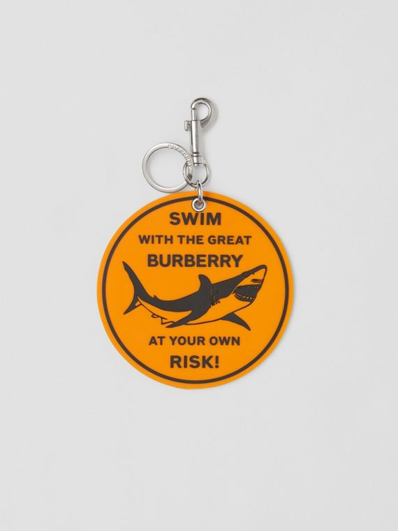 Shark Graphic Key Ring in Orange