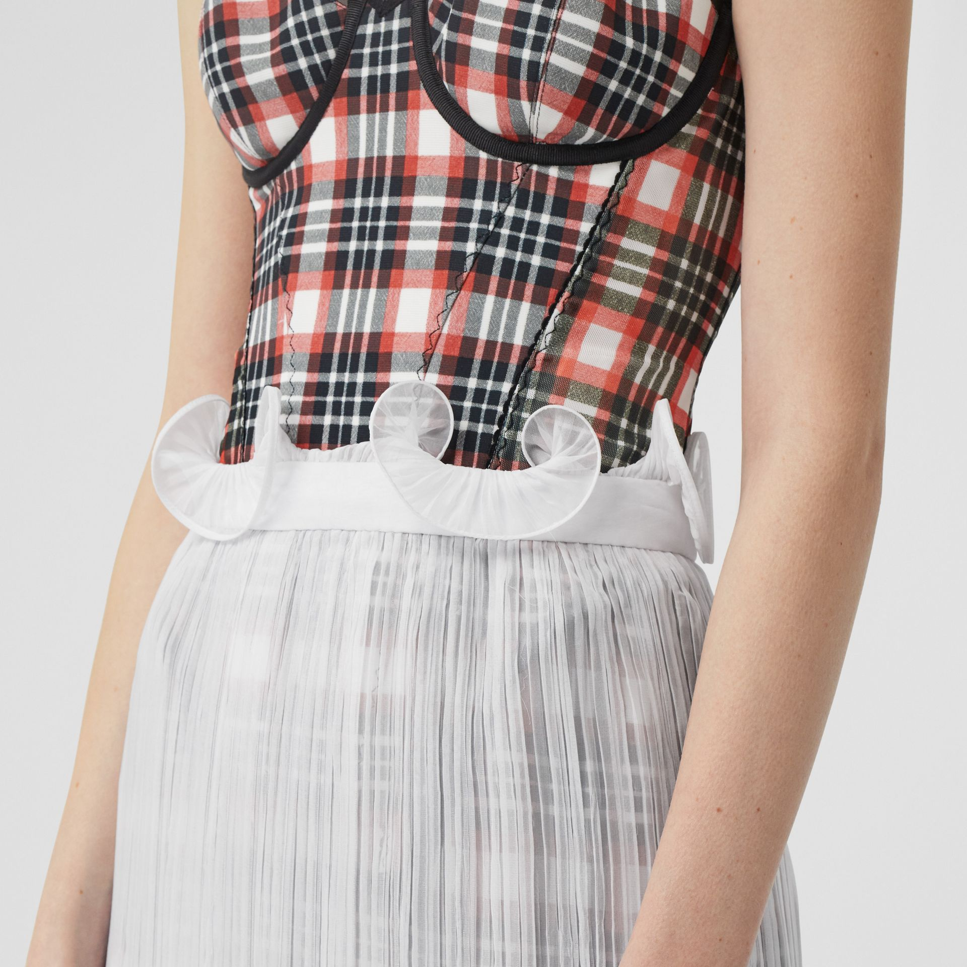 Custom Fit Ruffle Detail Chiffon Plissé Skirt in Optic White - Women | Burberry - gallery image 5