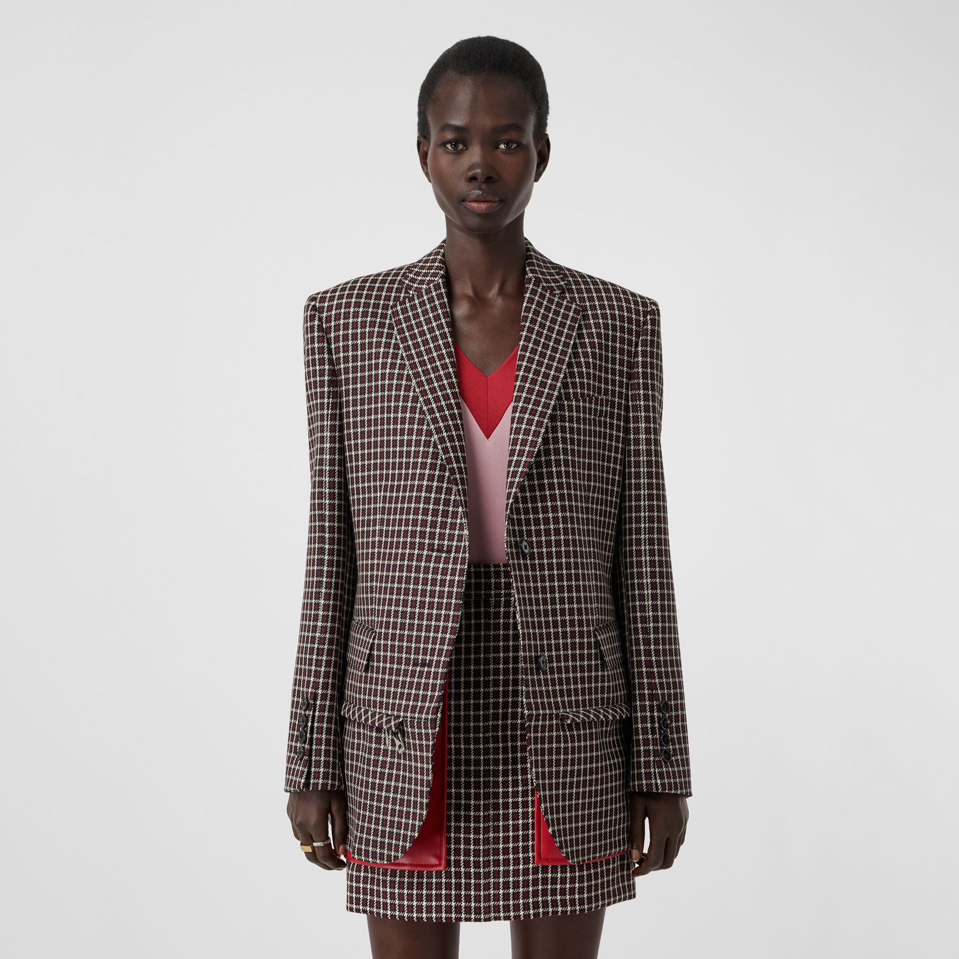 Tartan Wool Tailored Jacket with Detachable Gilet in Bordeaux - Women | Burberry - gallery image 5