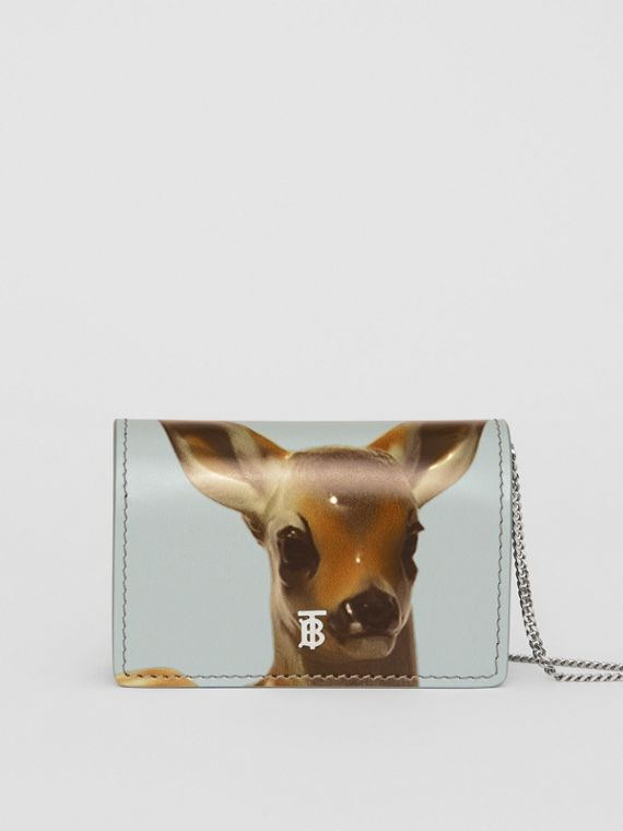 Deer Motif Leather Card Case with Detachable Strap in White