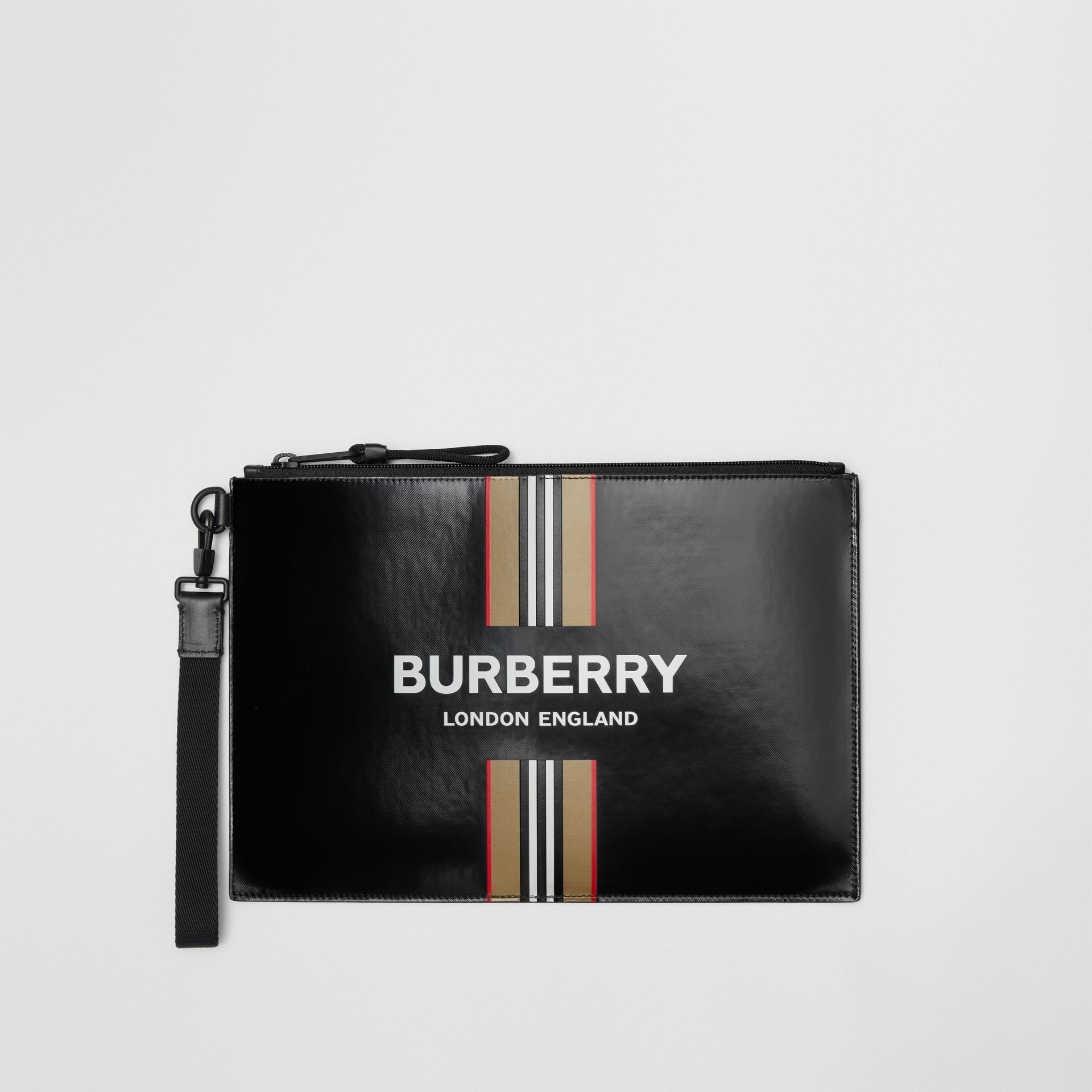 Logo and Icon Stripe Print Coated Canvas Zip Pouch in Black | Burberry United States - gallery image 0