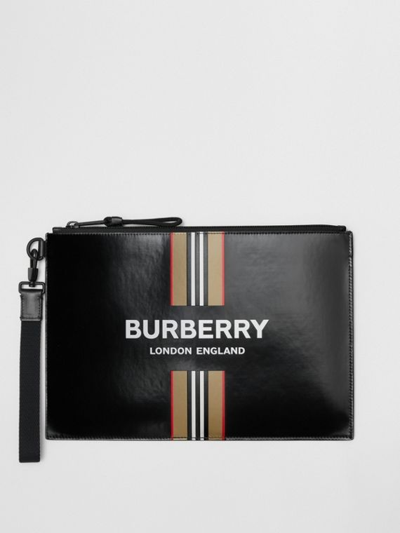 Logo and Icon Stripe Print Coated Canvas Zip Pouch in Black