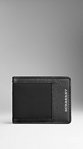 Leather and Nylon Folding Wallet
