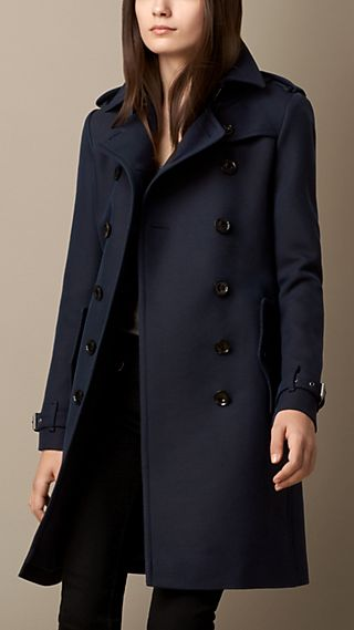 Wool Cotton Twill Trench Coat