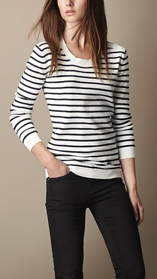Merino Wool Cashmere Striped Sweater