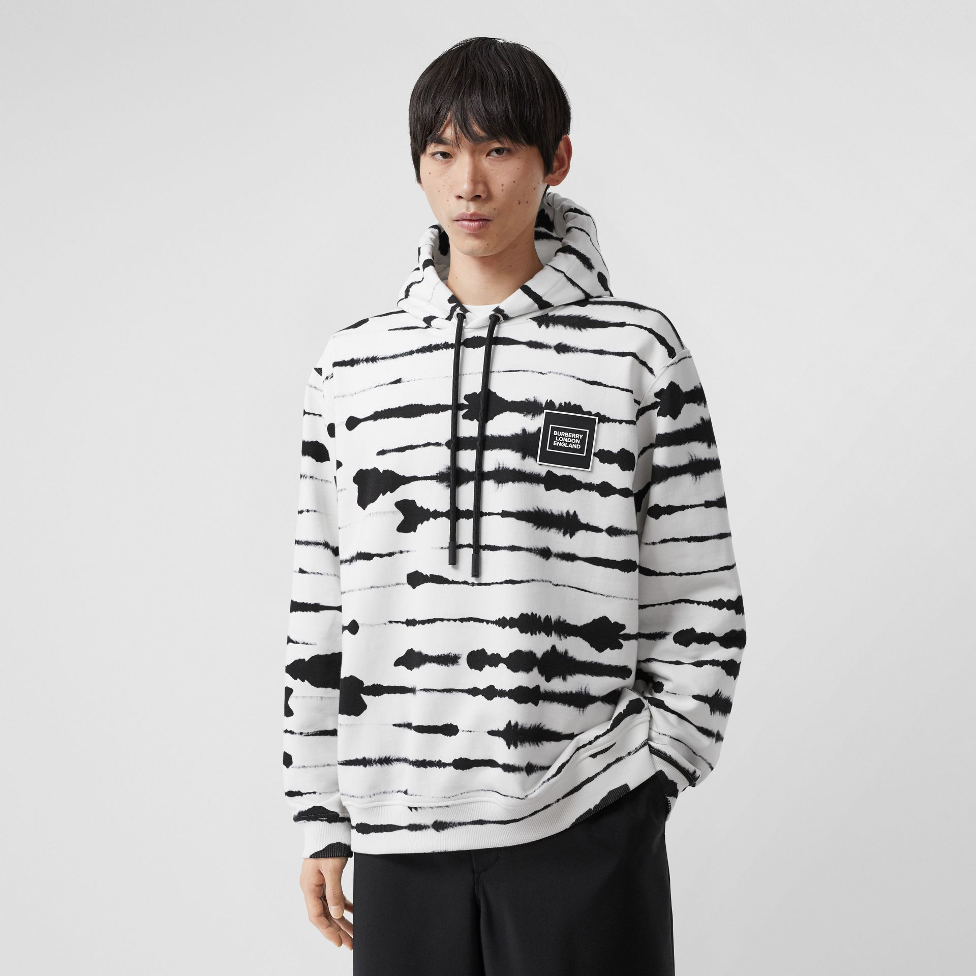 Logo Appliqué Watercolour Print Cotton Hoodie in Monochrome | Burberry Australia - gallery image 0