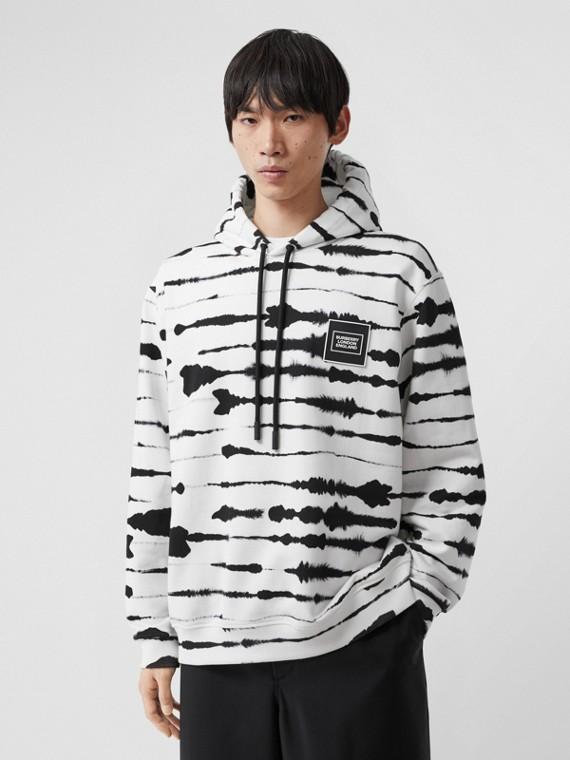 Suéter com capuz com estampa de aquarela e logotipo (Monocromático)