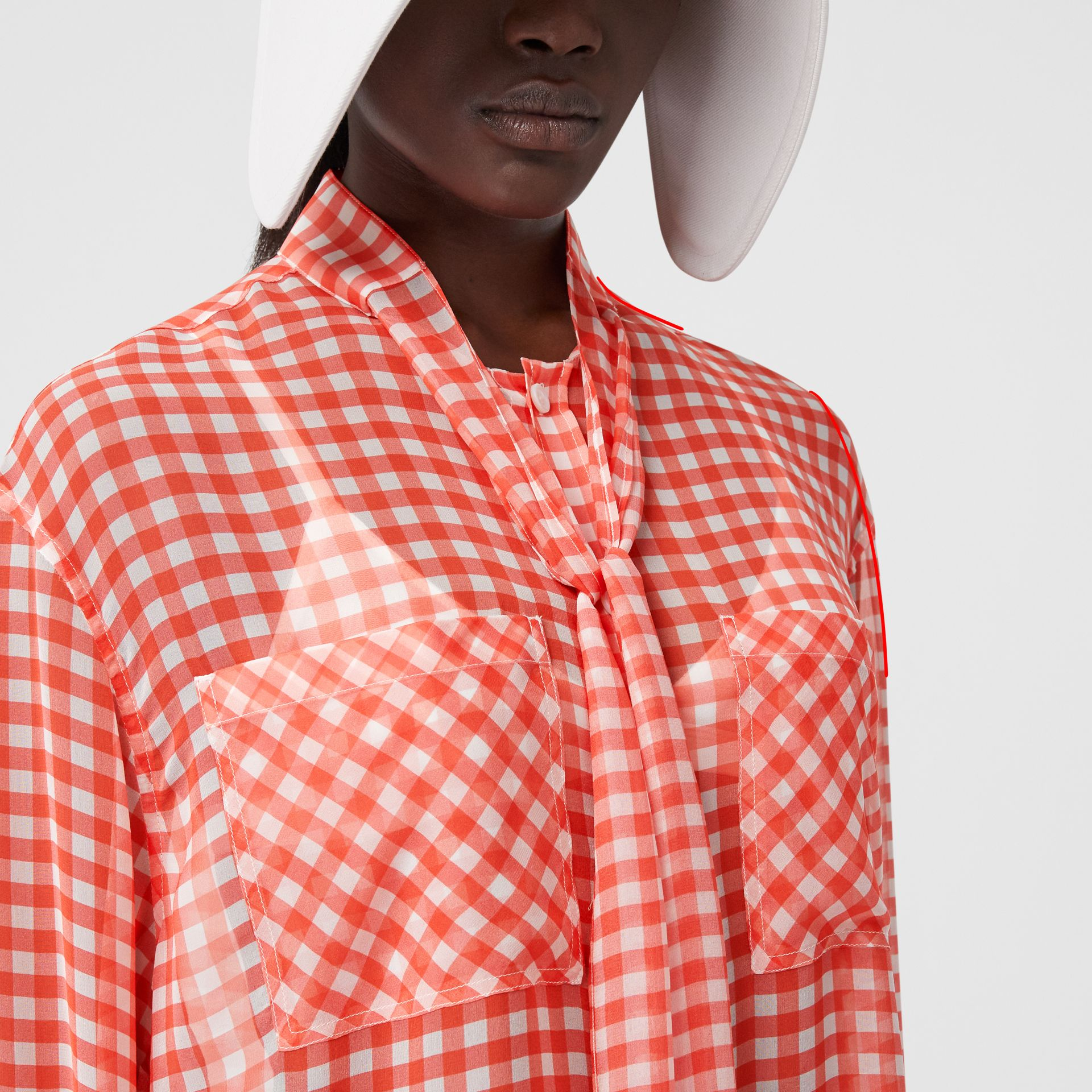 Gingham Silk Chiffon Pussy-bow Blouse in Red - Women | Burberry - gallery image 5