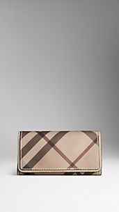 Smoked Check Saddle Stitch Continental Wallet
