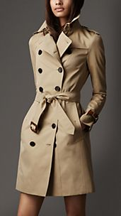 Long Slim Fit Leather Detail Trench Coat