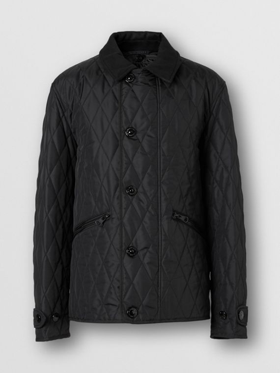 Diamond Quilted Jacket with Warmer in Black