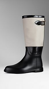 Leather Detail Rain Boots