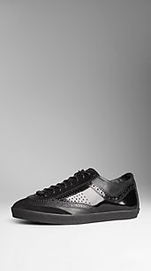Brogue Detail Patent Leather Trainers
