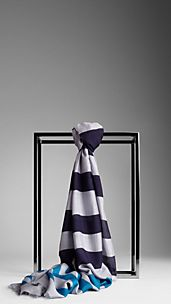 Striped Modal Silk Scarf