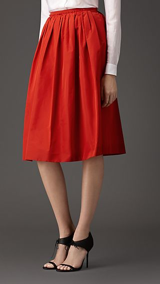 Pleated Cotton Blend Skirt