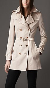 Short Cotton Gabardine Leather Detail Trench Coat