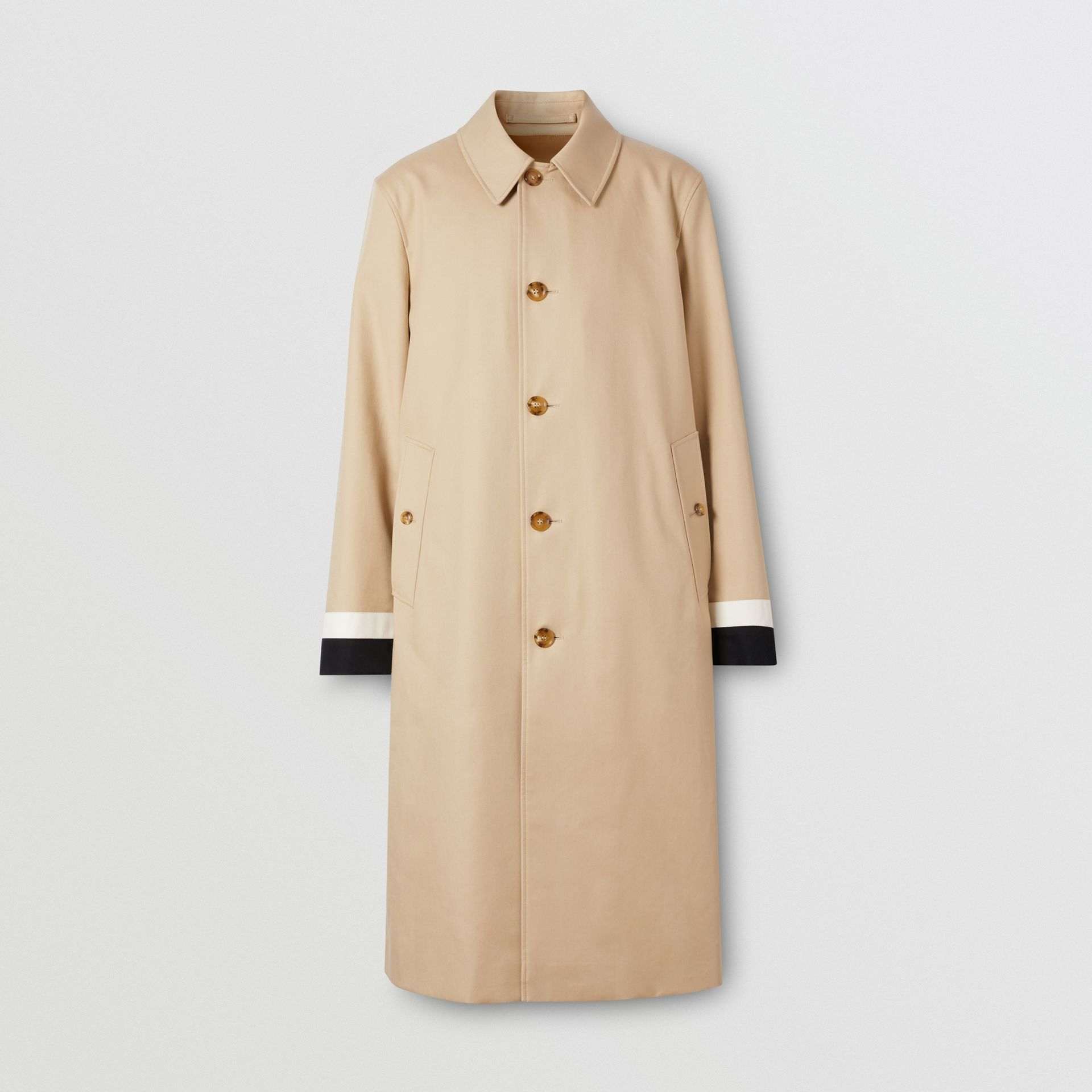 Stripe Detail Cotton Gabardine Car Coat in Soft Fawn - Men | Burberry - gallery image 3