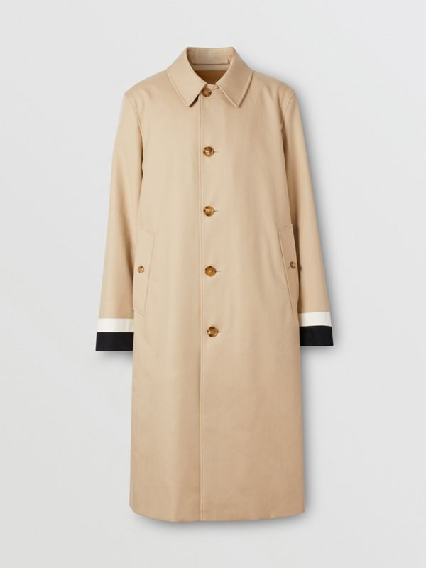Stripe Detail Cotton Gabardine Car Coat in Soft Fawn - Men | Burberry - cell image 3
