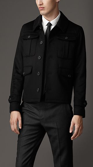 Bellows Pockets Cashmere Field Jacket